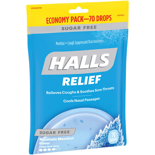 Halls Sugar Free Cough Drops Mountain Menthol 70ct