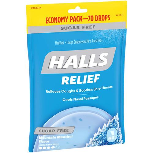 Halls Sugar Free Cough Drops Mountain Menthol 70ct