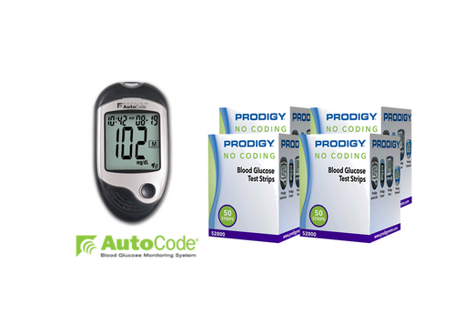 Prodigy Autocode Meter [+] Prodigy 200 Test Strips For GLucose Care