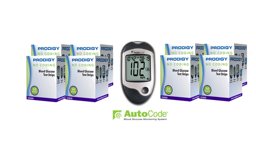 Prodigy Autocode Meter [+] Prodigy 400 Test Strips For GLucose Care