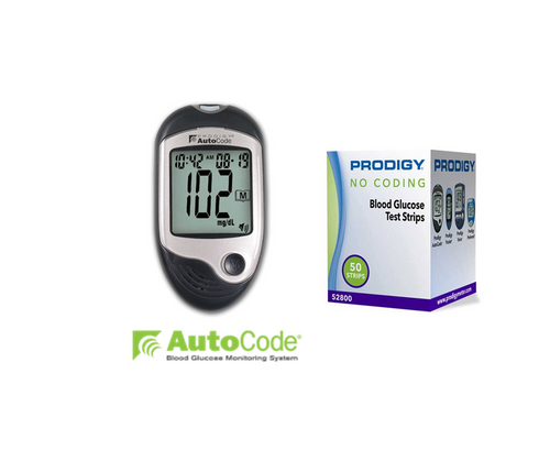 Prodigy Autocode Meter [+] Prodigy 50 Test Strips For GLucose Care