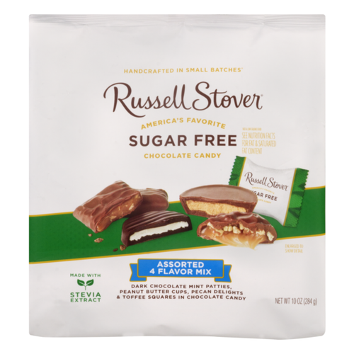 Russell Stover Sugar free Assorted Four Flavor Mix Chocolate Candies 10 oz.