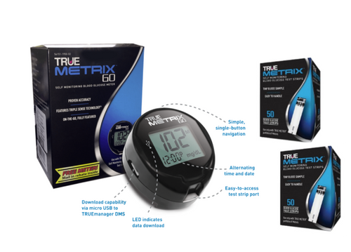 TRUE Metrix GO Blood Glucose Meter kit Plus Metrix 100 Test Strips