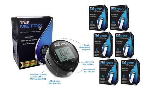 TRUE Metrix GO Blood Glucose Meter kit Plus Metrix 300 Test Strips