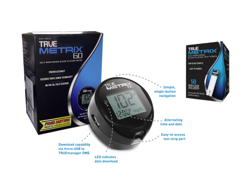 TRUE Metrix GO Blood Glucose Meter kit Plus Metrix 50 Test Strips