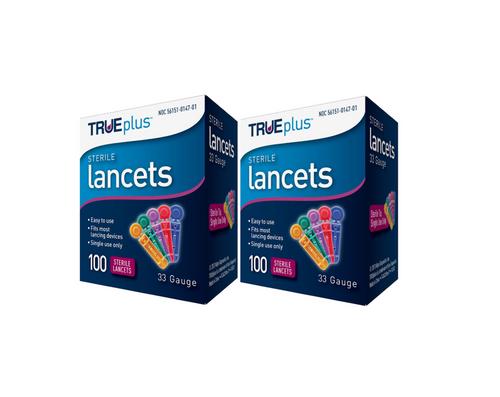 TRUEplus Universal Twist Top 33 Gauge Lancets 2 x 100pack - 200