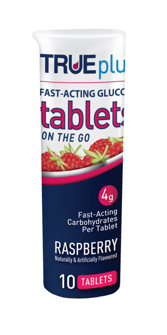 TRUEplus Glucose Tablets Raspberry 10ct  [ 6 Pack ]