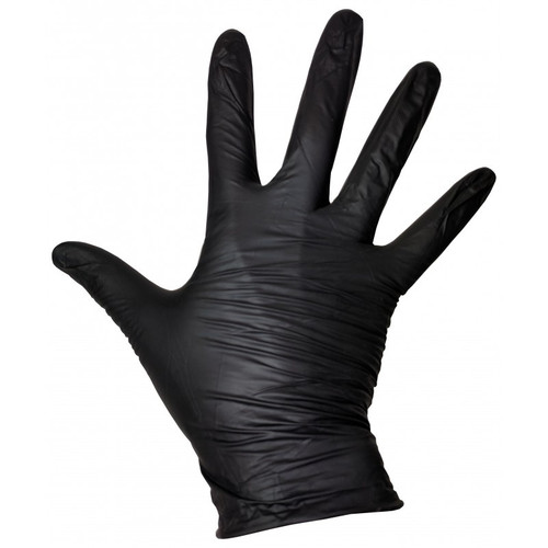Nitrile Exam Glove Standard Cuff Length Fully Textured Large NonSterile - Black 100/Bx