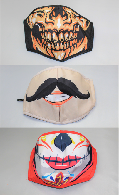 Fun & Funky Mask Assorted [ 3 Adult Mask - Skull, Mustache & Day of the Dead ]