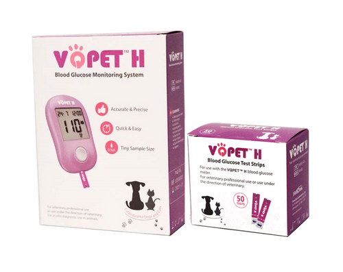 VQ PET H Blood Glucose Monitoring System for Pet Use Starter KIT with 50 Test Strips