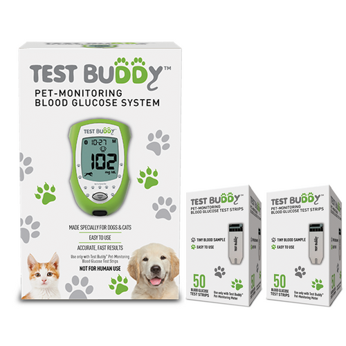 Test Buddy Glucose Monitor Starter Kit [+] With Test Buddy 150 Test Strips For Diabetic Pet