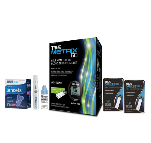 TRUE METRIX GO Meter Starter Kit with 100 Test strips, Lancets 30G and Control Solution