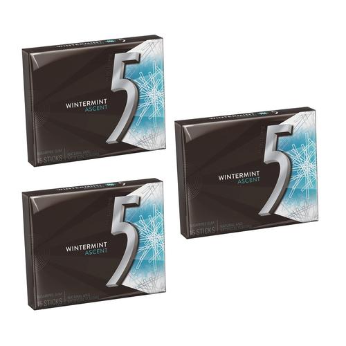Wrigley's Five Sugar Free Gum 15 Sticks - Wintermint Ascent [ 3 Pack ]