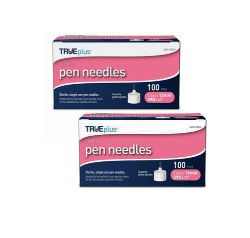 TRUEplus® Sterile, Single-Use Pen Needles, 29g, 12mm (1/2 inch) - [2 Pack]