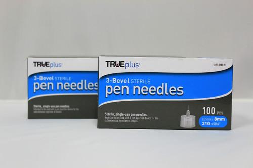 TRUEplus® Sterile, Single-Use Pen Needles, 31g, 8mm (5/16 inch) - [2 Pack]