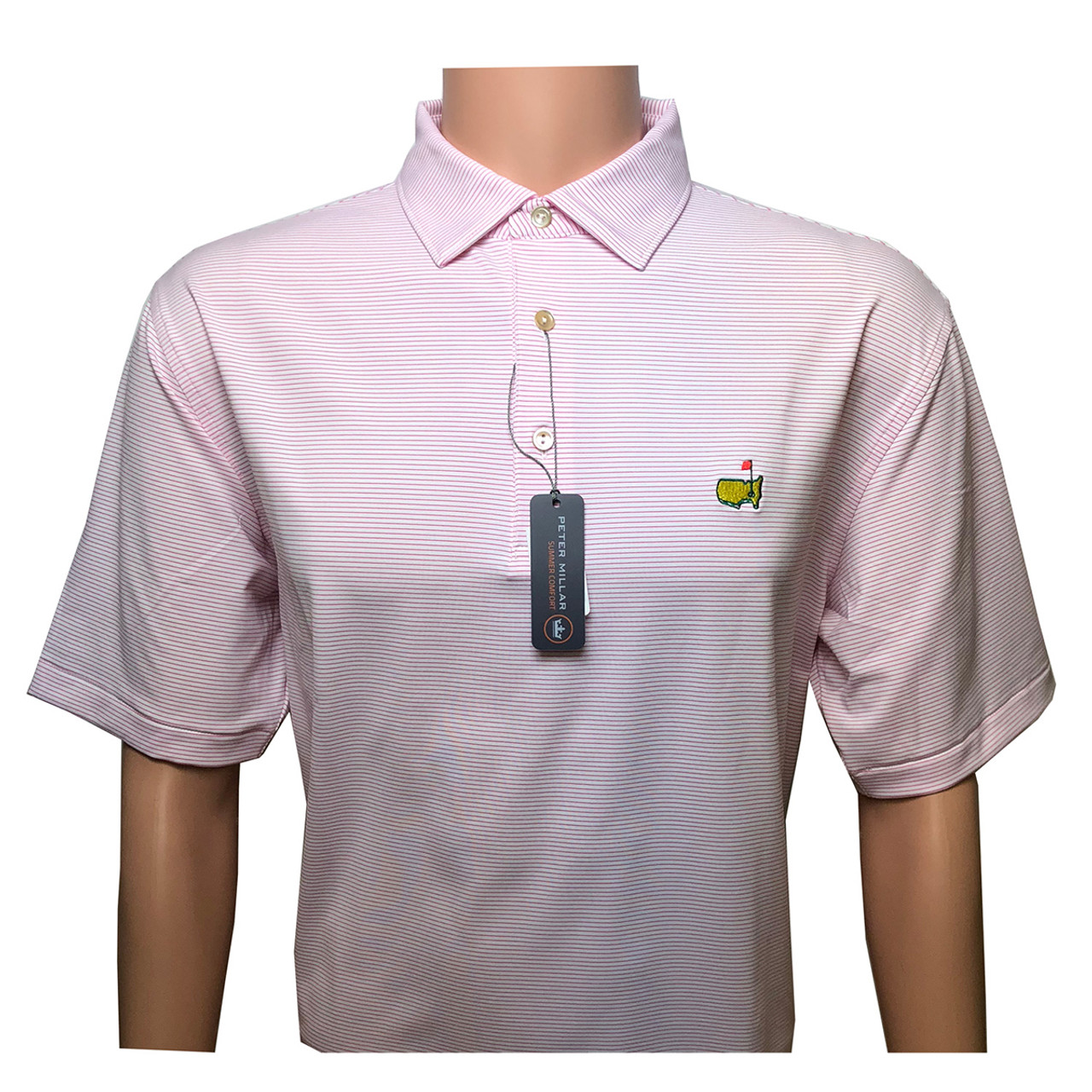 fbd9f37c Masters Peter Millar White and Pink Striped Tech Golf Shirt