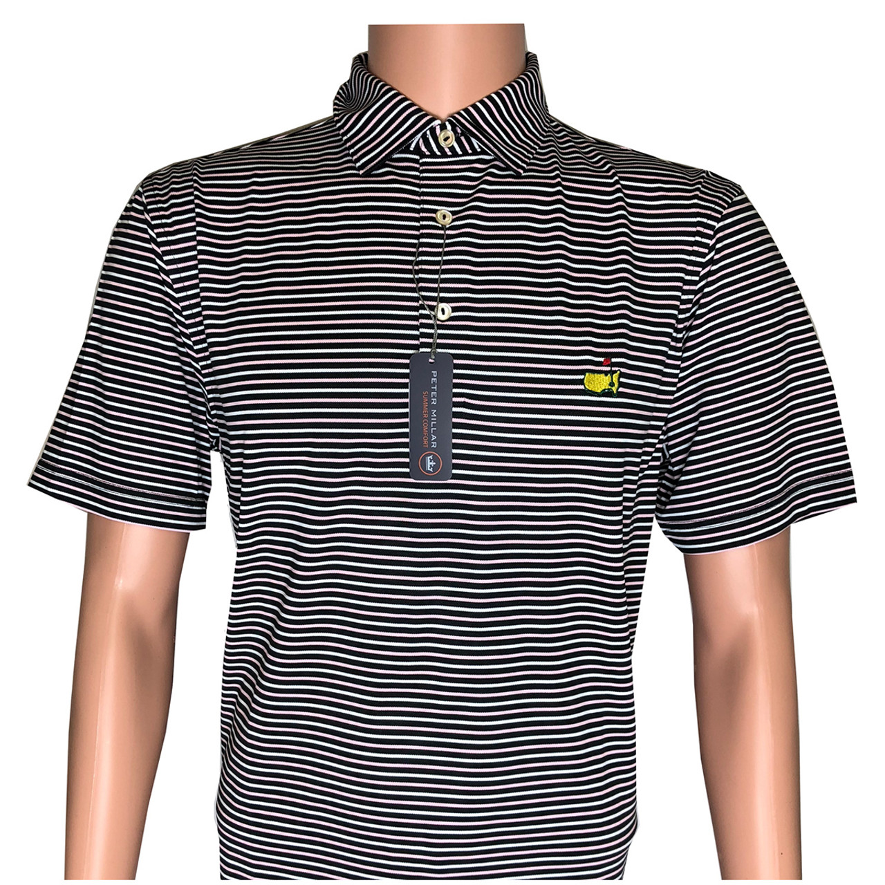 06b6a5d9 Masters Peter Millar Black, White and Pink Striped Tech Golf Shirt