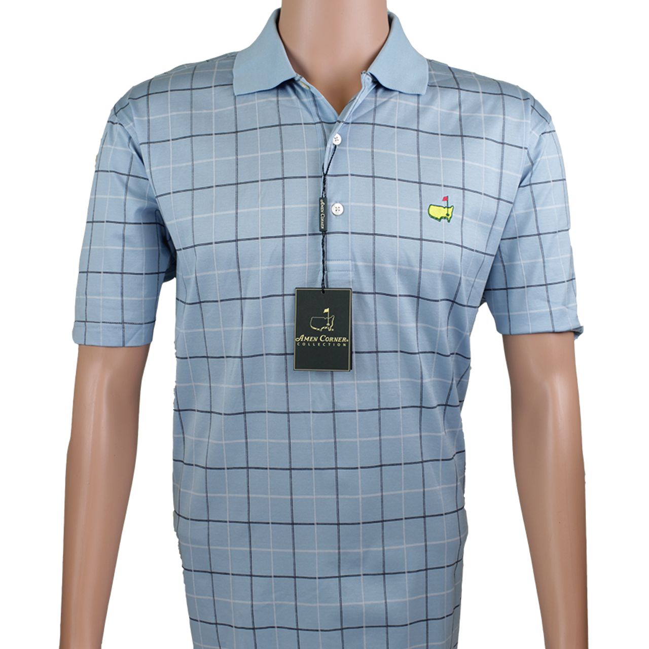 8a36be59f Masters Amen Corner Polo Shirt -Light Blue Navy Checkered