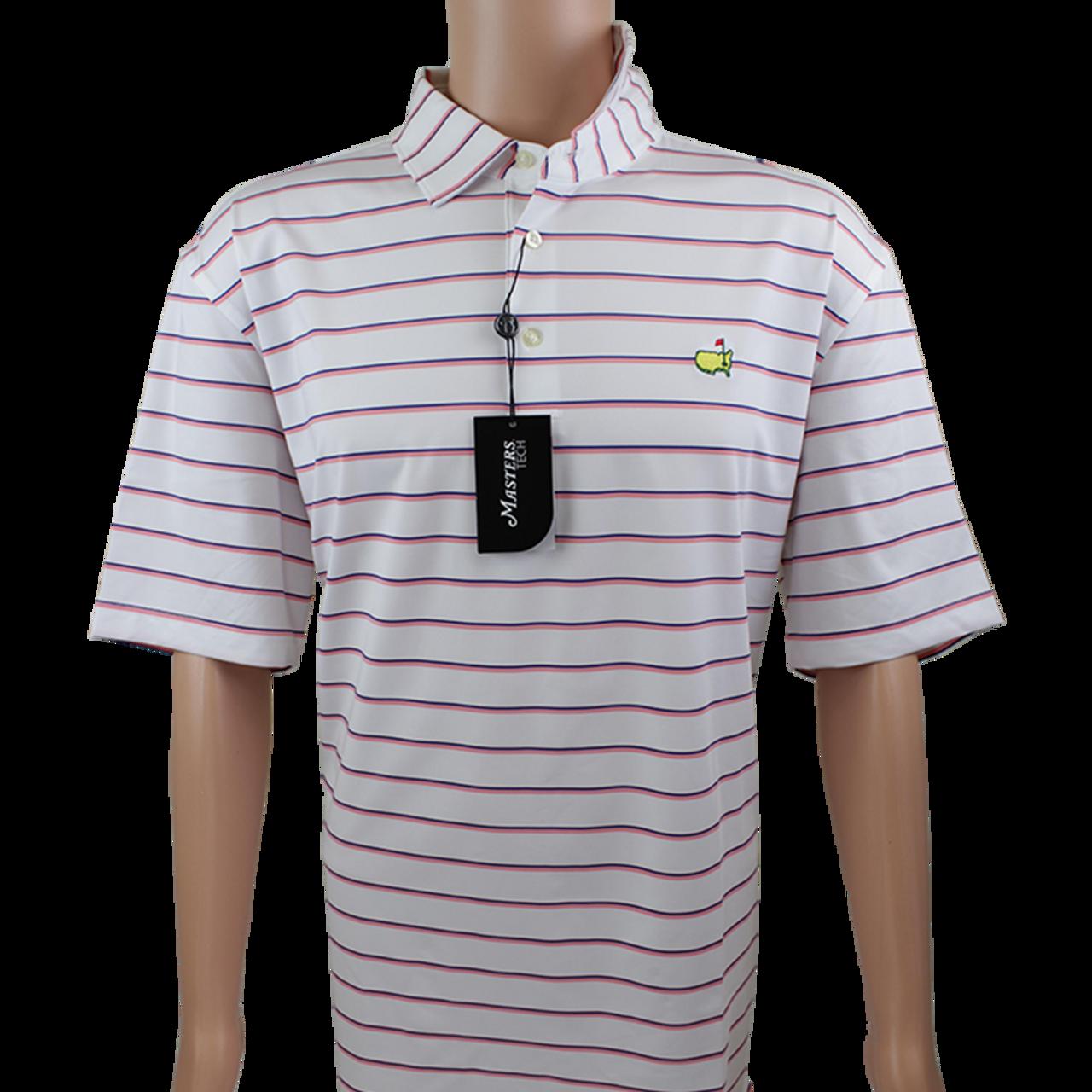 19a8ceba3a9 Masters White   Pink Navy Striped Performance Tech Golf Shirt