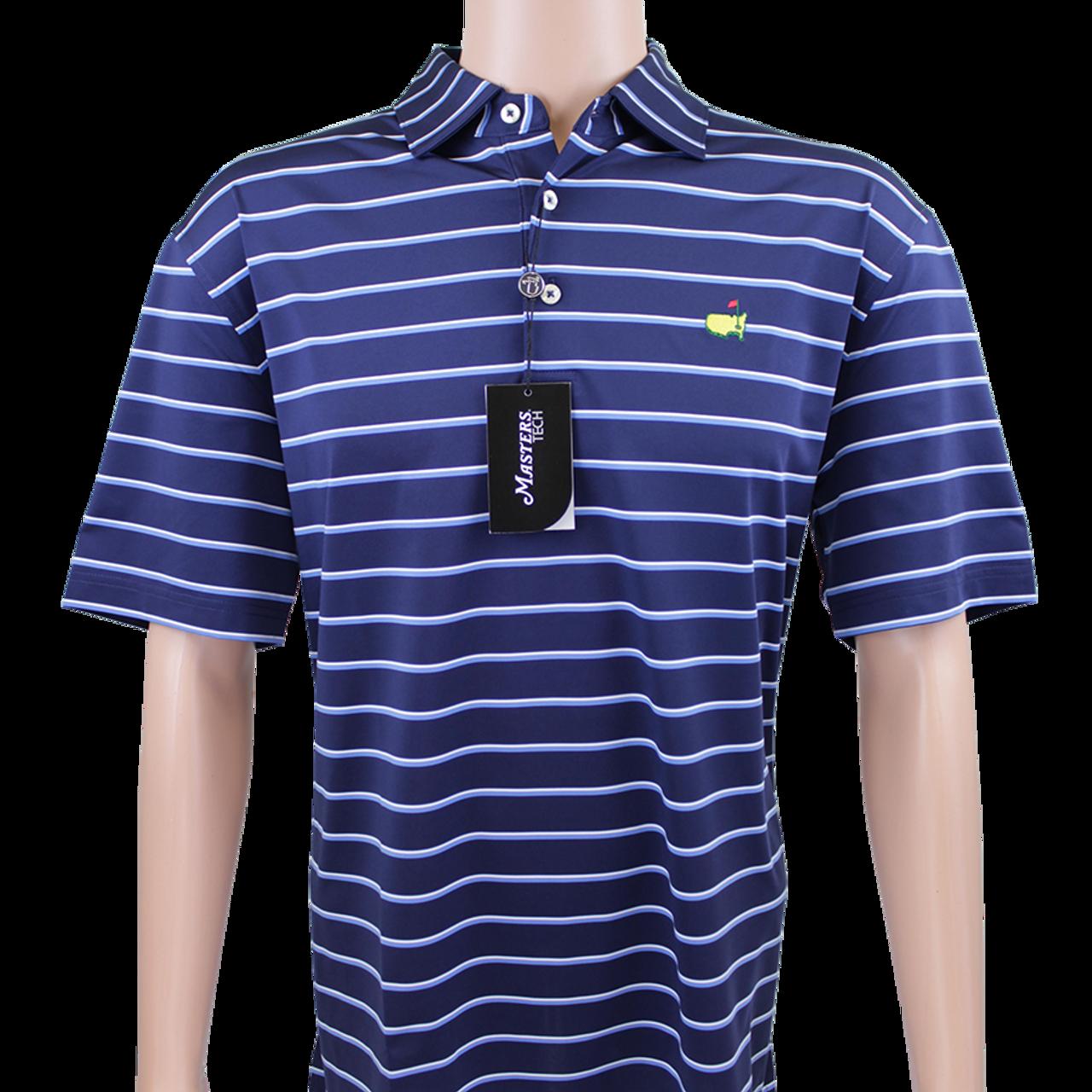 d99daa3e79b Masters Navy   White Blue Striped Performance Tech Golf Shirt