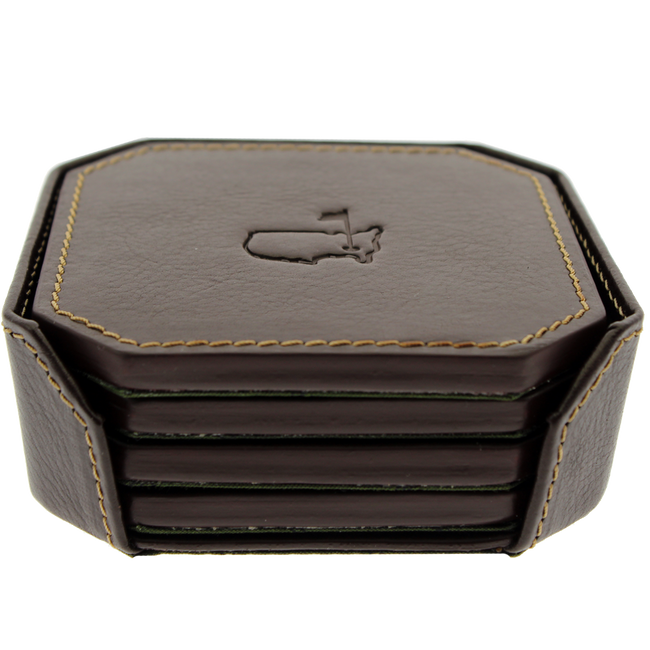 Masters Italian Leather Executive Coaster Set - 4 Pack