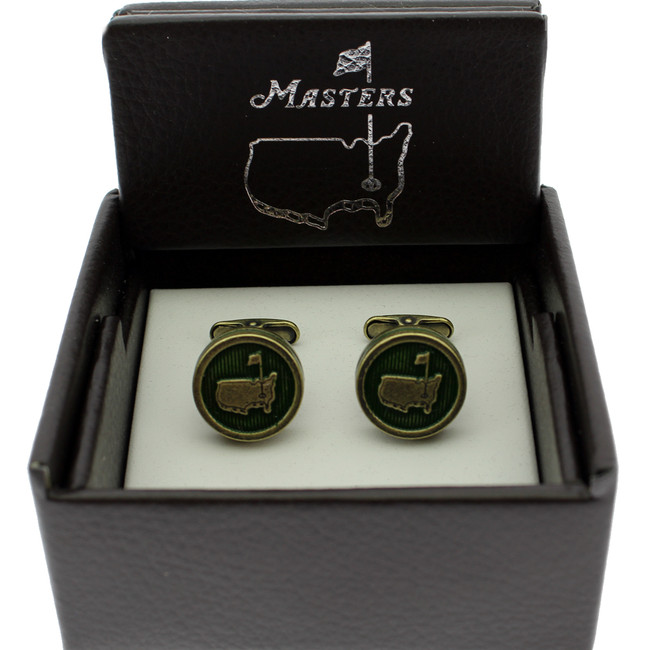 Masters Cuff Links - Antique Emerald & Brass