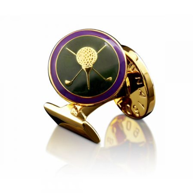 Gold & Purple Golf Cuff Links