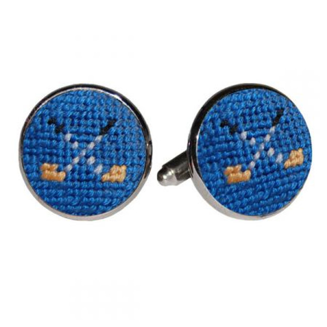 Blue Needlepoint Golf Club Cufflinks designed by Smathers and Branson