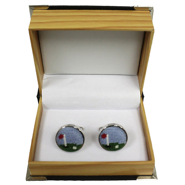 Smathers & Branson Golf Course Cufflinks in Wooden Box