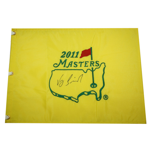 Vijay Singh Autographed 2011 Masters Golf Embroidered Pin Flag