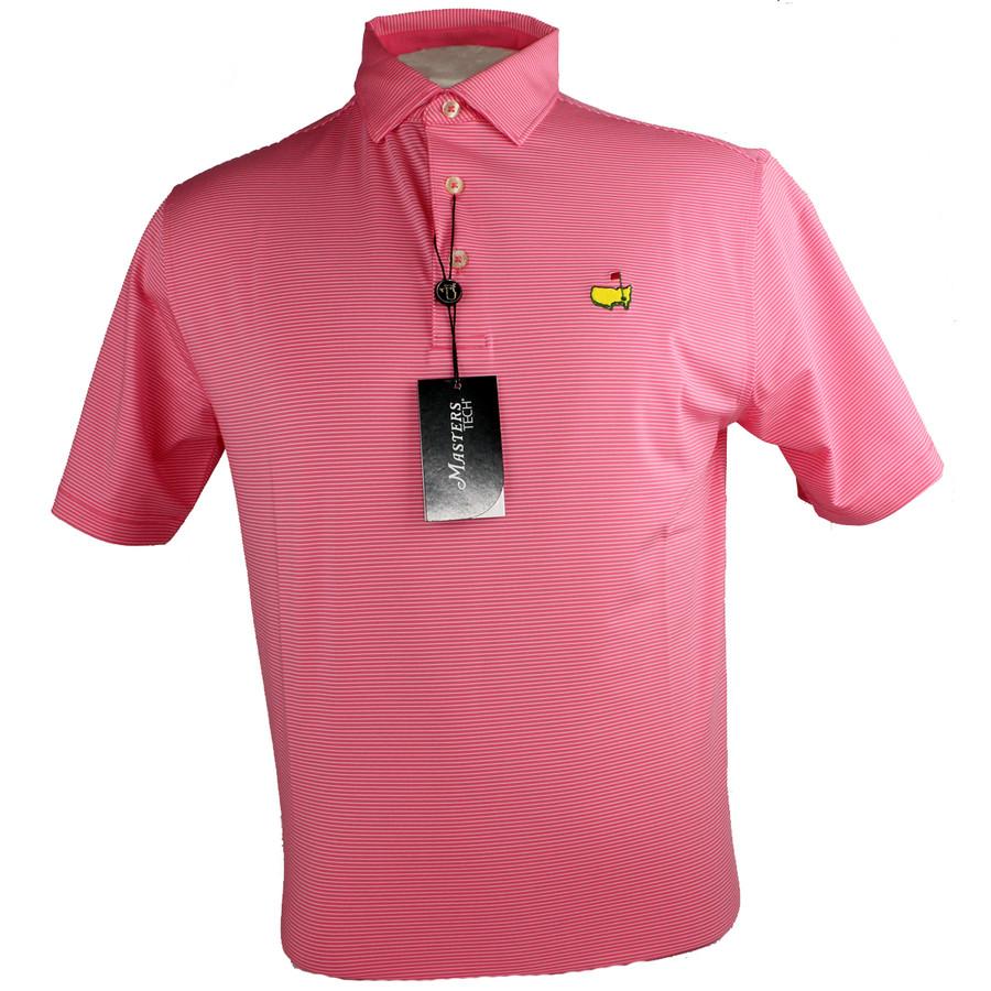Masters Camelia & Thin White Striped Performance Tech Golf Shirt