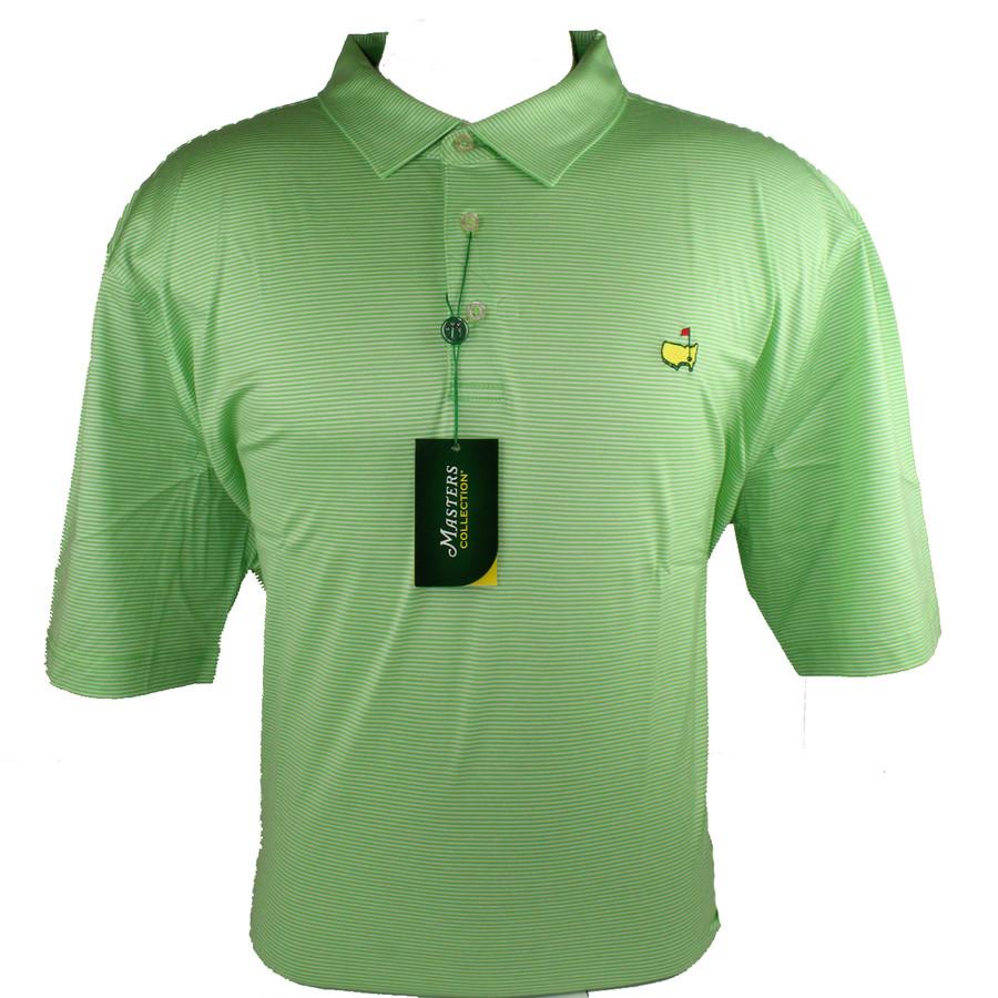 Masters Jersey Summer Green & White Striped Golf Shirt