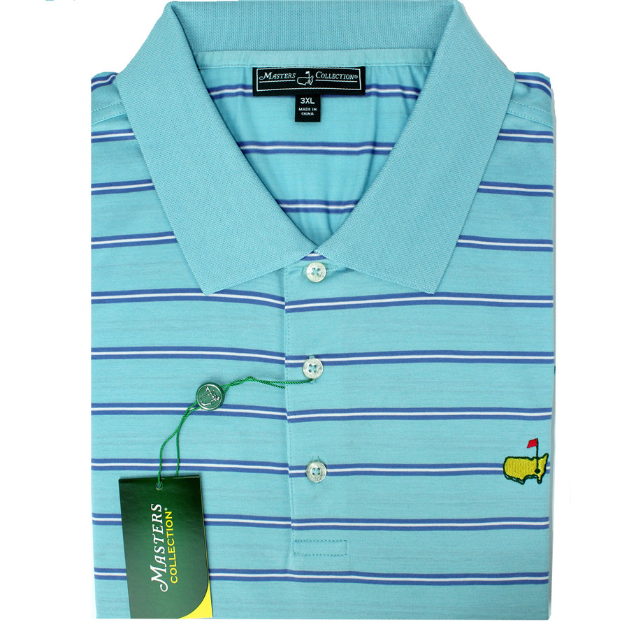 Masters Jersey Teal, Blue & White Striped Golf Shirt