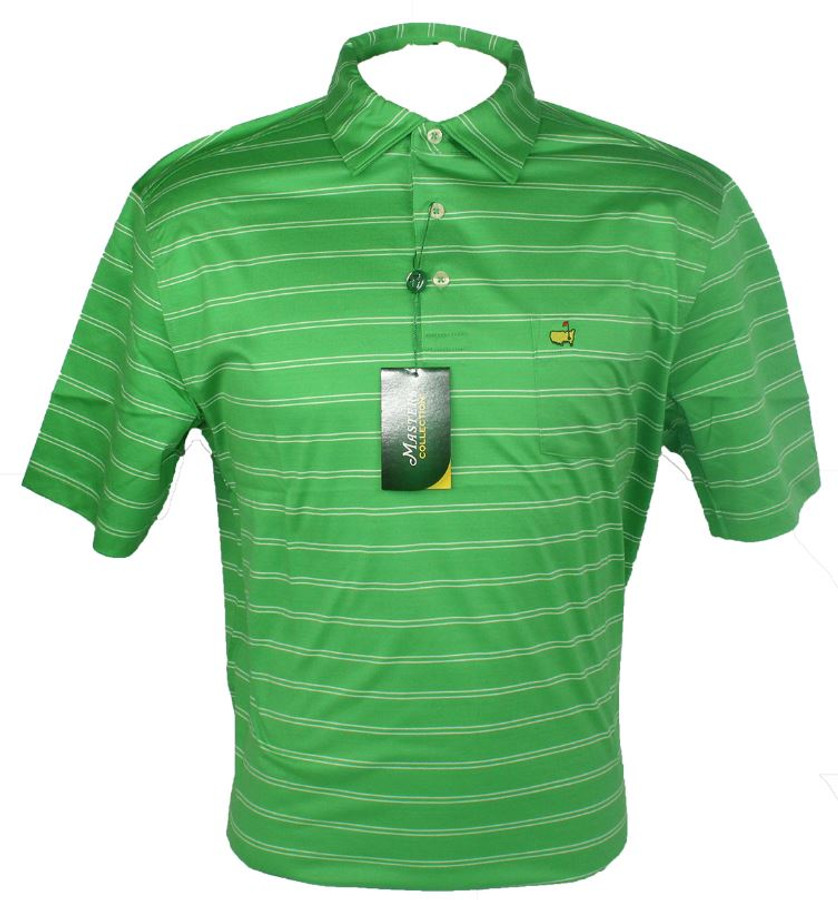 Masters Lawn & White Striped Jersey Golf Shirt (M Only)