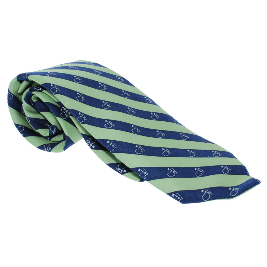 Masters Mens Neck Tie - Lime & Navy Logo Diagonal
