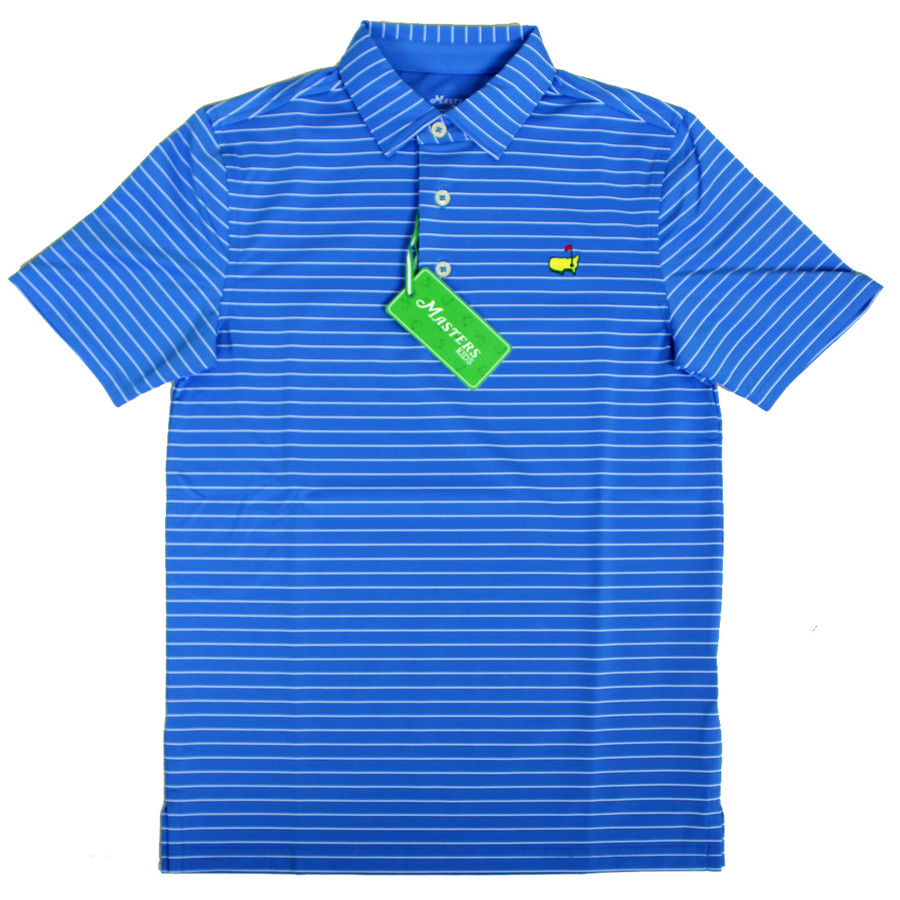 Masters Youth Performance Golf Shirt - Light Blue and White