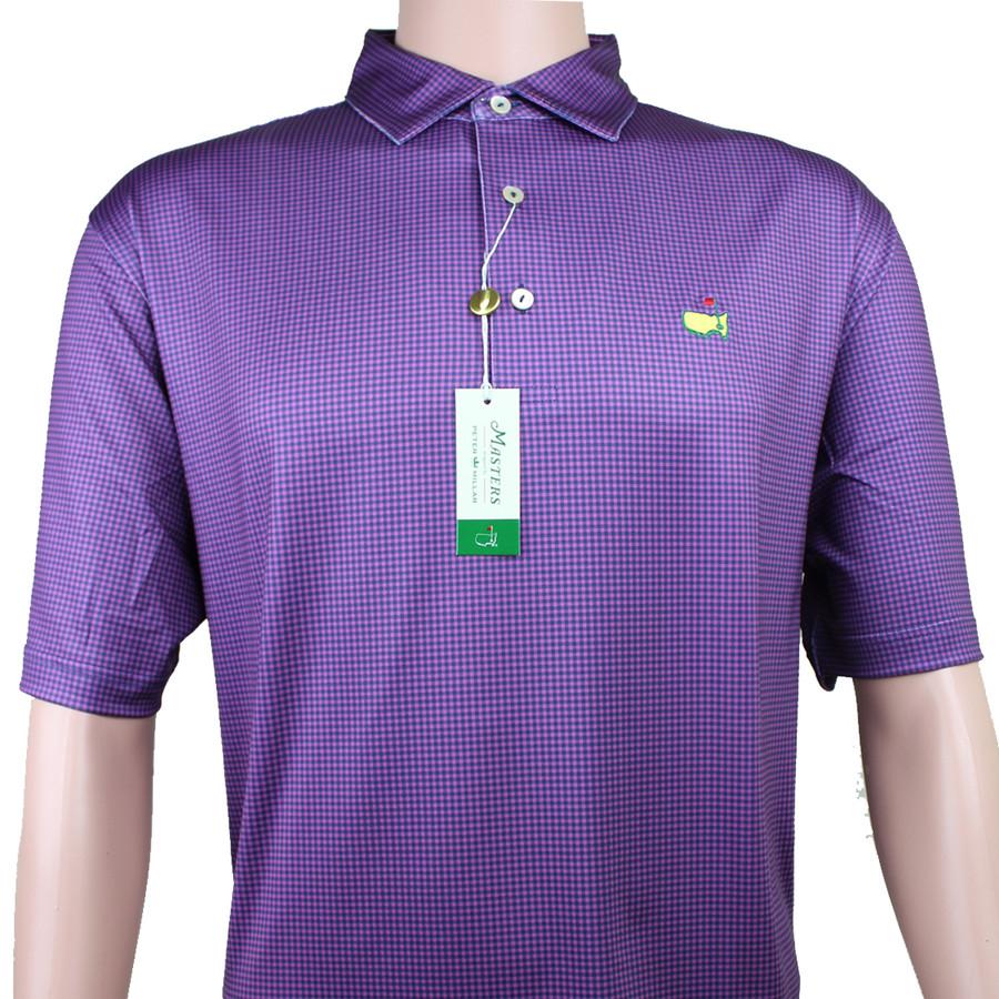 Masters Peter Millar Pink & Navy Checkered Performance Tech Golf Shirt