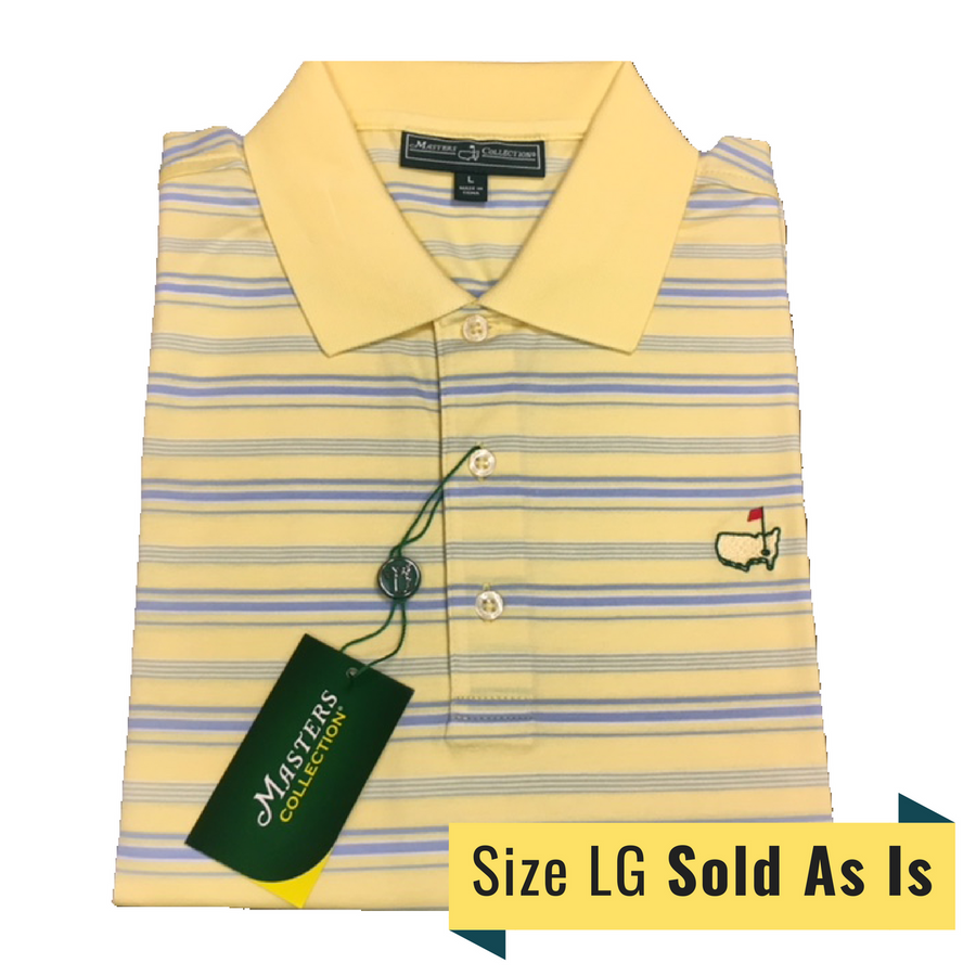 Masters Yellow & Light Blue Striped Golf Polo *As Is