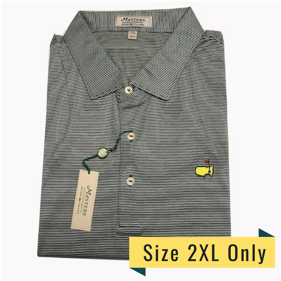 Masters Peter Millar Augusta Green and White Striped Polo