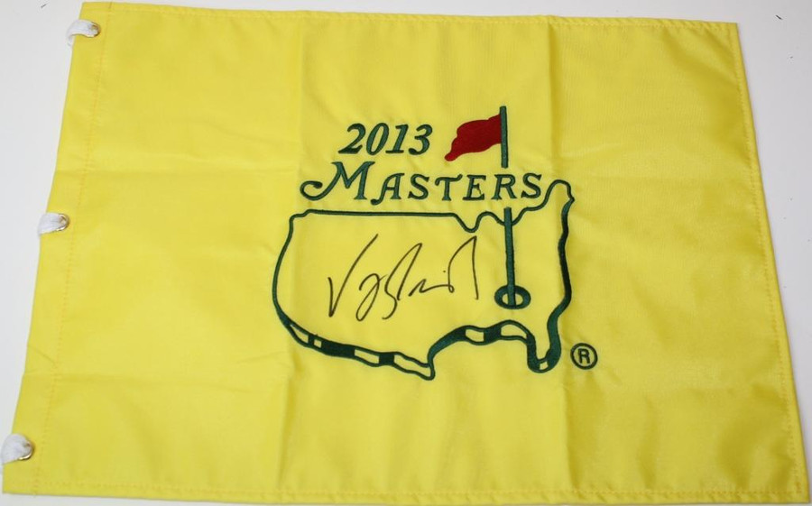 Vijay Singh signed Authentic 2013 Masters Embroidered Pin Flag
