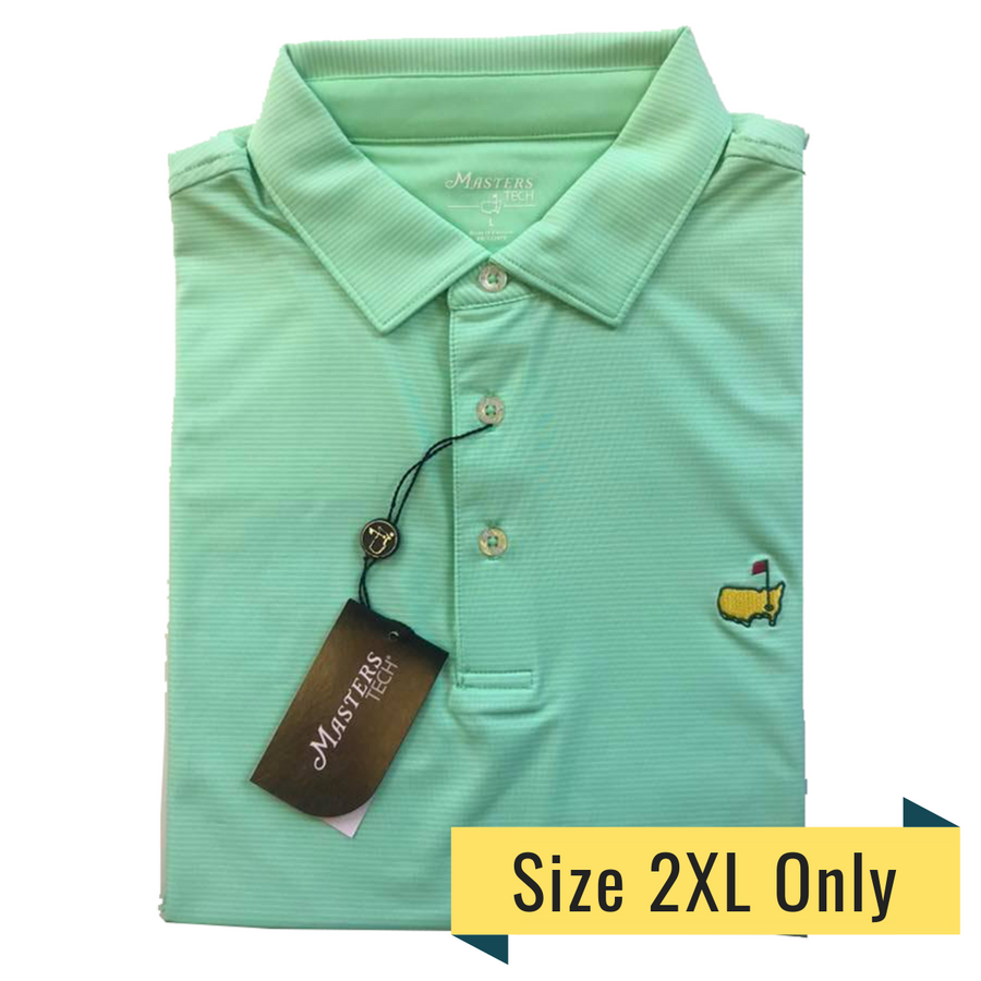 Masters Spring Green and White Striped Tech Polo