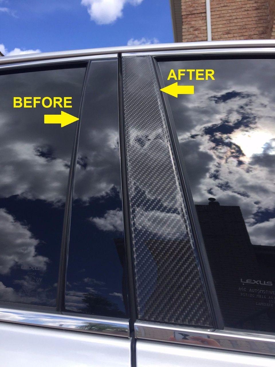 Fits Chevy Malibu 2013-2015 Real Carbon Fiber Black Window Pillar Posts 6PCS