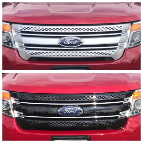Glossy Black Grille Overlay for Ford Explorer 2011-2015