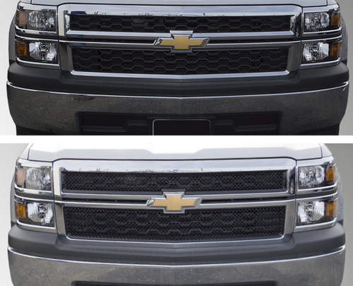 Glossy Black Grille Overlay for Chevy Silverado 2014-2015