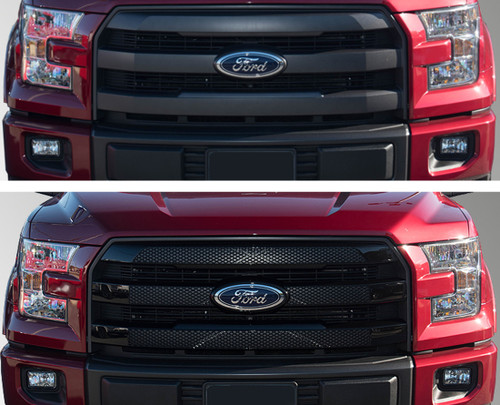 Glossy Black Grille Overlay for Ford F150 Lariat 2015-2017