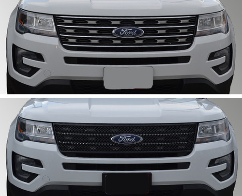 Glossy Black Grille Overlay for Ford Explorer 2016-2018