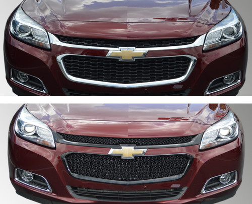 Glossy Black Grille Overlay for Chevy Malibu 2014-2015