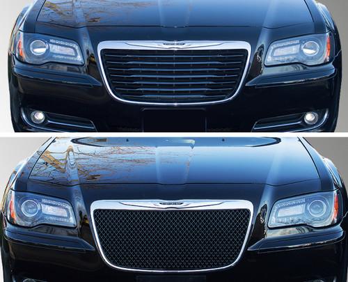 Glossy Black Grille Overlay for Chrysler 300 2011-2014