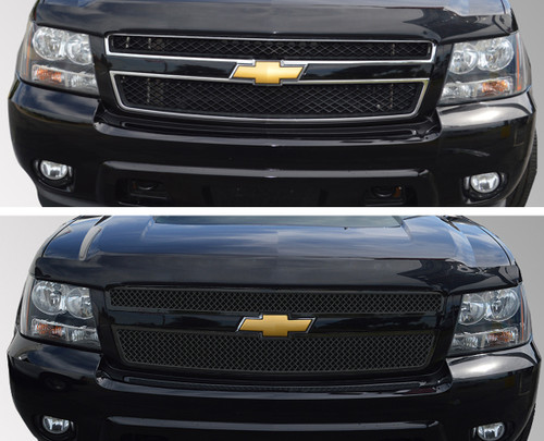 Glossy Black Grille Overlay for Chevy Suburban 2007-2013