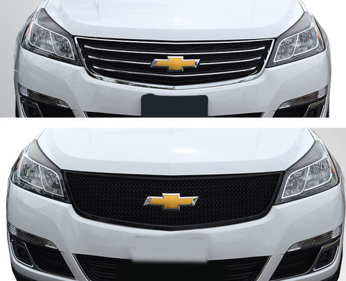 Glossy Black Grille Overlay for Chevy Traverse 2013-2017